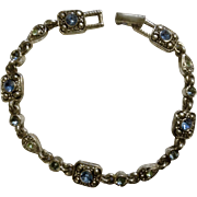 "7"" Sky Blue Rhinestone and Silver Tone Bracelet Costume Jewelry"