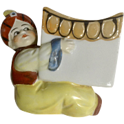 Lusterware Genie Holding a Magic Box Figurine, Porcelain Planter Vase Germany