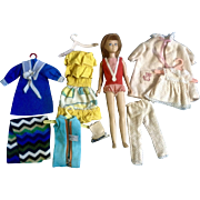 Vintage 1963 Mattel Straight Leg Skipper Reddish Brunette Head Hair Bathing Suit Original plus Outfits and Accessories Group