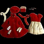 Vintage 1963 Barbie Skipper Mattel Red Velvet Dress Coat Outfit #1906 Including Rare Red Earrings