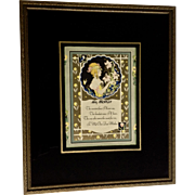 1930 Stunning Mothers Poem Print Behind Reverse Glass Painted Mat in Frame