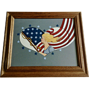 Cathey Yowell, I Love America, Girl With American Flag Watercolor Painting In Heart Signed by Artist