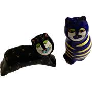 Adorable Calico Kitty Cats Hand Painted Salt & Pepper Ceramic Shakers