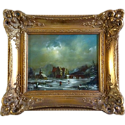 Massop Jr, Snowy Town With Ice Skaters, Dutch Oil Painting On Board, Signed by Artist