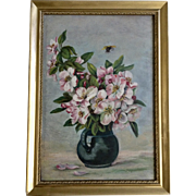 Antique Cherry Blooms With Bee Still Life Oil Painting