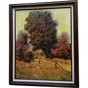 Donald A. Gibbs, A Country Boy With His Dog in bucolic Landscape Oil Painting Signed by Listed Artist