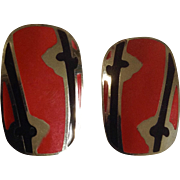 Vintage Berebl Red and Black Enamel on Silver Tone Setting Clip-on Earrings Costume Jewelry