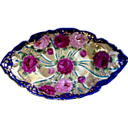 Antique Hand Painted Floral Rose Bowl with Gold Moriage and Signed With Crescent Moon
