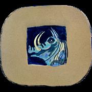 Boar Plate Suki Diamond Studio Designer Stoneware Majolica Art Pottery Signed by Sonoma County California Artist