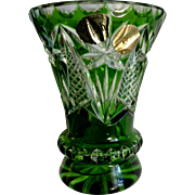 Real Bleikristal Berchtesgaden Emerald Green Wheel Cut Vase Bavaria West Germany 24% Crystal