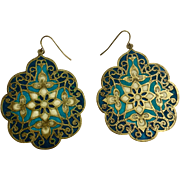 Beautiful Vintage Cloisonné Hook Earrings For Pierced Ears Look Like Stained Glass Windows Costume Jewelry
