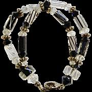 Silver Tone Black & White Crystal Glass Beaded Bracelet Costume Jewelry