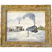 Bill Paxton, Narrow Gauge Sr & Rl Railroad Train Station, Original Oil Painting on Canvas Board Signed by Listed Artist 1927