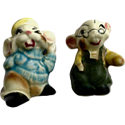 Two Old Man Mice Ceramic Salt and Pepper Shakers Japan Mouse Anthropomorphic S & P Figurines