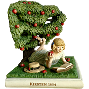 Kirsten 1854 American Girl Reading a Book by Apple Tree Bookend Figurine