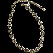 "PD Crown Aurora Borealis Rhinestones with Silver-Tone Black Roses Necklace 19"" Premier Designs Costume Jewelry"