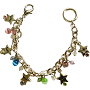 "Beautiful Inspiration Charm Bracelet Cats Eye Silver-Tone Colored Rhinestones Costume Jewelry 7"""