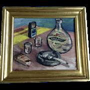 V. Vintr, Impressionist Still Life Table Scene Oil Painting on Canvas Signed by Artist 1960's