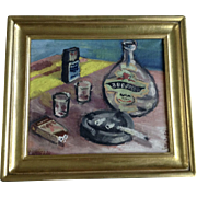 V. Vintr, Impressionist Still Life Table Scene Oil Painting on Canvas Signed by Artist 1960's
