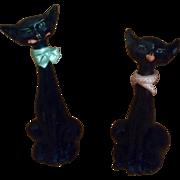 Retro Atomic Kitty Cat Large Long Neck Black Hand Painted Animal Ceramic Figurines