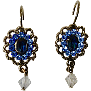 Stunning Sparkle Blue Rhinestone Clip-on Earrings