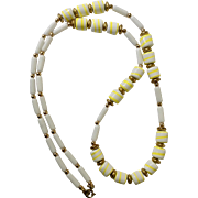 """Vintage White & Yellow Glass Square Beads Gold-tone Necklace 31"""""""