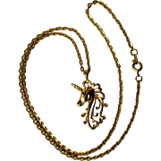 "Pretty Gold-Tone Unicorn Necklace 19"" Chain Costume Jewelry"