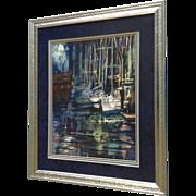 Sailboats Sit at Moorings in Moon Lit Harbor, Watercolor Painting Monogrammed