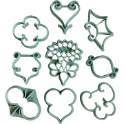 Vintage 1972 Wilton Cookie Cutters Pastry Wedding Icing Fondant Scroll Shapes Never Used 8 pieces 408-91