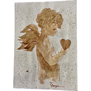Priscilla George, Golden Cupid Angel Boy Holding Heart Mixed Media Painting on Paper Card Signed by Artist