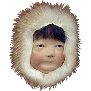 Inuit Eskimo Boy Porcelain Head Hand Made and Decorated In Picture Frame