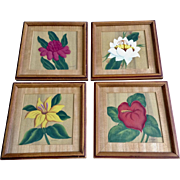 Beautiful Vintage Flowers in Frames Floral Tempera Watercolor Paintings Works on Paper Signed by Artist, Danne
