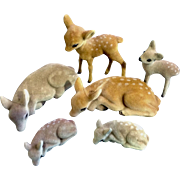 Vintage Flocked Fuzzy Deer Fawns Standing and Laying Down 6 Woodland Animal Figurines