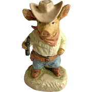 Gunfight at Pig Corral Adorable Little Cowboy Gun Slinger Hand Painted Figurine Enesco 1980