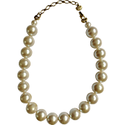"""Large Faux Pearl Necklace 5/8 inch Round Beads Adjustable 16-1/2""""-19"""""""