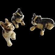 Black and White Boxer Puppy Dog Family Set Bone China Miniatures Animal Figurines Japan