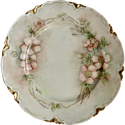 "Hand Painted Haviland Limoges France Rimmed Dinner Plate 9-1/2"" Floral Pink Peach Blossoms Signed Marjorie Bracken"
