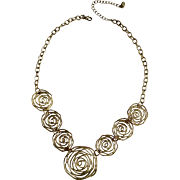 """Gold-Tone Roses Necklace Makers Mark Pure Co. Costume Jewelry 20-1/2"""""""