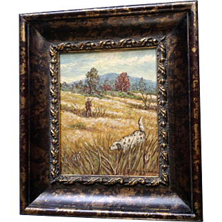 D. Caggiano, Original Landscape Oil Painting on Board, Signed by Artist, Hunting Pheasant with Pointer Retriever Dog