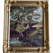 Antique Landscape Oil Painting on Canvas Board Down by the Creek