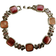 Pink Cats Eye Stones Pink Faux Diamonds Silver-Tone Bracelet