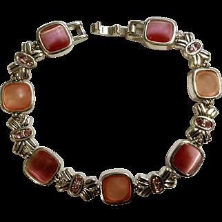 Pink Cats Eye Stones Pink Faux Diamonds Silver-Tone Bracelet