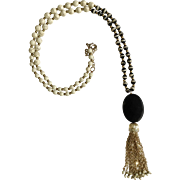 Beautiful Black Glass Gold-Tone Stone Beaded Necklace Costume Jewelry