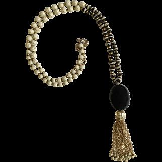 Beautiful Black Glass Gold-Tone Stone Beaded Necklace Costume Jewelry