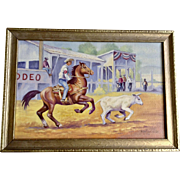 Kent Purchase, Rodeo Professional Cutting Horse Competition Oil Painting Signed by Artist