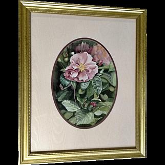 Margie Barron, Floral Landscape of Pink Rose Bush Signed by Kansas Artist