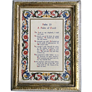 Vintage Scripture, Psalm 23, The Lord is My Shepard Picture Frame Made in Florence, Italy