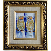 Leroy V, Horned Owls Enamel on Copper Art Picture with Certificate of Authenticity Signed By Artist