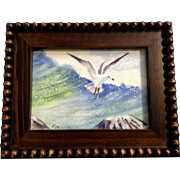 Lydia Rea, Seagull Flying Above Rocky Ocean Coast, Watercolor Painting Works on Paper Signed By Artist