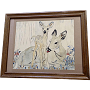 Shirley Tongish, Mama Deer with Baby Newborn Fawn, Watercolor Painting Works on Paper Signed by Artist